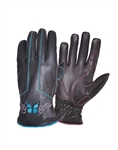 Teal Butterfly Women's Leather Motorcycle Gloves