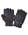 Fingerless Leather Motorcycle Gloves: Pink Butterfly