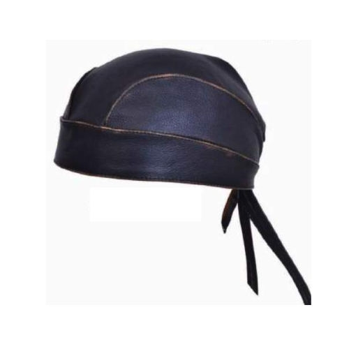 Distressed Brown Leather Motorcycle Head Wrap Skull Cap