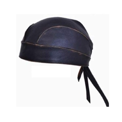 distressed brown leather motorcycle head wrap