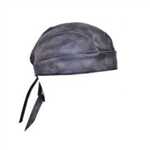 distressed gray leather motorcycle head wrap