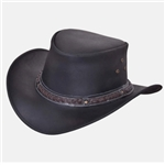 Black Leather Western Hat, Brown Braided Band