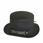Black Leather Top Hat, Chain Studded Band