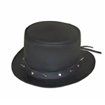 Black Leather Top Hat, Spiked Studded Band