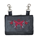 Biker Leather Hip Clip Riding Purse - Red Butterfly