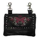 Biker Leather Hip Clip Belt Bag - Pink Butterfly