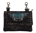 Biker Leather Hip Clip Belt Bag - Teal Butterfly