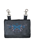 Biker Leather Hip Clip Riding Purse - Teal Butterfly