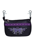 Purple Tribal Butterfly Leather Hip Purse