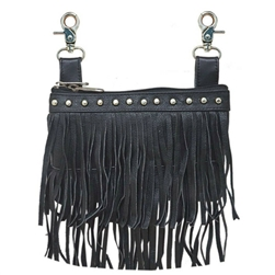 Double Fringe Leather Studded Hip Purse Biker Riding Bag