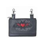 Biker Leather Hip Clip Belt Bags -  Red Heart
