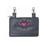 Biker Leather Hip Clip Belt Bags -  Pink Heart