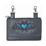 Biker Leather Hip Clip Belt Bags -  Blue Heart
