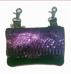 Biker Leather Clip On Belt Bag: Color-Changing Snake Print