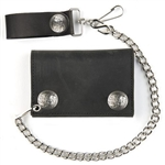 Buffalo Nickel Snap Leather Chain Wallet