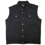 Men's Classic Black Denim Motorcycle Vest