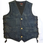 Kids Blue Denim Motorcycle Vest - Biker Style