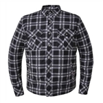 Flannel Armored Motorcycle Shirt, Plaid Black & White