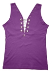Women's Motorcycle Tank Top With Chains & Studs