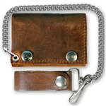 Distressed Brown Leather Chain Wallets: Bikers