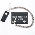 Biker Leather Chain Wallets With Bad Mother Fucker