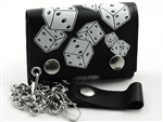 Biker Leather Chain Wallet With Dice