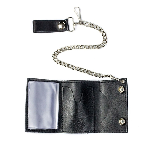 Trifold Black Leather Biker Wallet Metal Flaming Dice Design w// a Chain