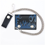 Biker Leather Chain Wallet With Blue Flames