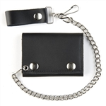 Black Leather Biker Chain Wallets: USA Made