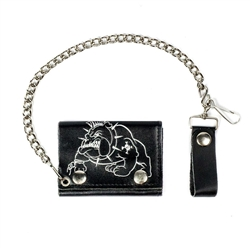 Men's Bull Dog Leather Chain Wallet: American Made