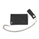 Basic Black Genuine Leather Biker Chain Wallet With Hidden Snaps
