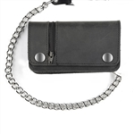 Leather Chain Wallet with Zipper - Biker Bi-Fold, USA Cowhide