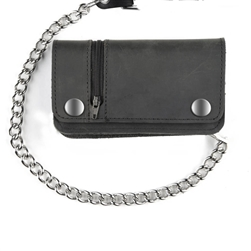 Leather Chain Wallet with Zipper - Biker Style