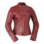 Whet Blu Lambskin Racer Leather Jacket: Oxblood Red