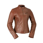 Whet Blu  Lambskin Racer Leather Jacket: Whiskey
