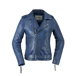 Whet Blu  Lambskin Blue Leather Jacket