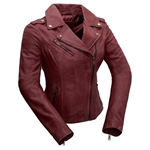 Whet Blu Lambskin Sangria Red Leather Motorcycle Jacket