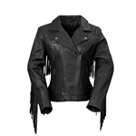 Whet Blu Black Leather Fringe M/C Jacket