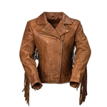 Whet Blu Whiskey Leather Fringe M/C Jacket
