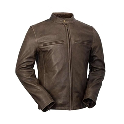 WhetBlu Mens Leather Brown Cruiser Jacket