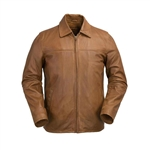 WhetBlu Mens Whiskey Leather James Dean Jacket