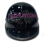 Smallest DOT Helmets: Polo Lady Rider, Gloss Black, Pink