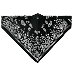 Motorcycle Face Mask: Black Paisley Neodanna