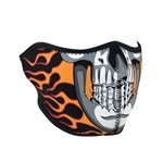 Burning Skull Half Motorcycle Face Mask