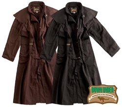 Mens Down Under Oil Cloth Duster: Black & Brown