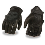 Reflective Skull Leather Motorcycle Gloves: Milwaukee