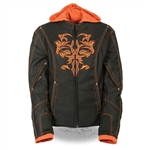 Women's Motorcycle Jackets: Orange Tribal Milwaukee