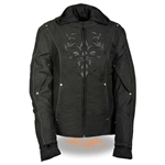 Textile Tribal Women's Motorcycle Jacket With Hoody
