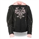 Women's Motorcycle Jackets With Pink Hoodie