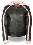 Women's Leather Motorcycle Jacket: Pink Hoodie